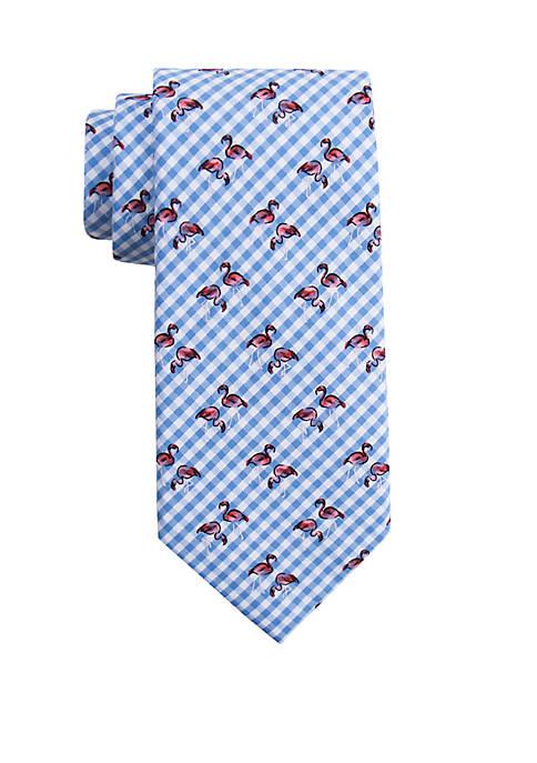 Gingham Flamingo Tie