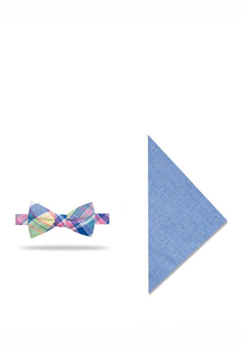 Mens Bailey Plaid Bow Tie and Pocket Square Set