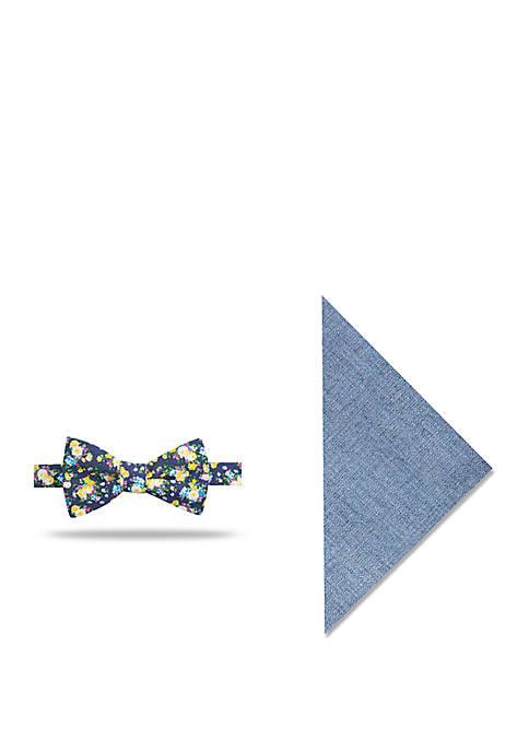 Hickory Floral Bow Tie And Pocket Square Set