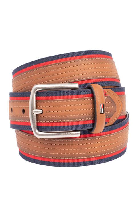 35 Millimeter Cut Round Stitch Belt with Overlay