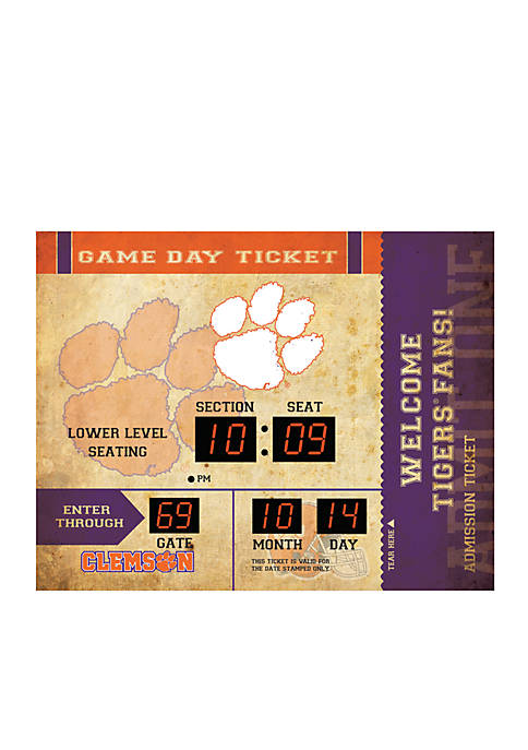 Team Sport America Bluetooth Scoreboard Wall Clock Clemson