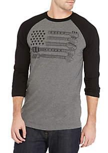 3/4 Raglan Sleeve Guitar Print Shirt