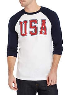 3/4 Raglan Sleeve USA Shirt