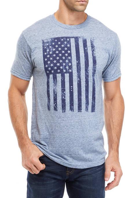 Sea Blue Heather Flag Graphic T-Shirt