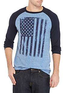 3/4 Raglan Sleeve American Flag Screenprint Shirt