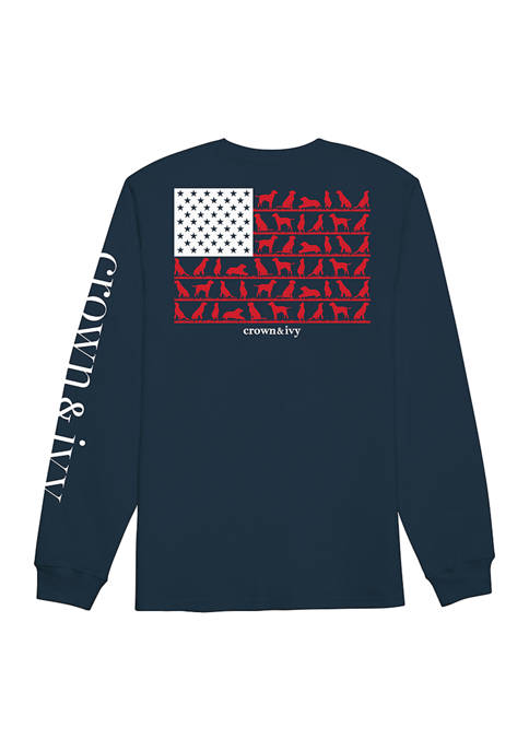 Crown & Ivy™ Long Sleeve Dog Flag Graphic