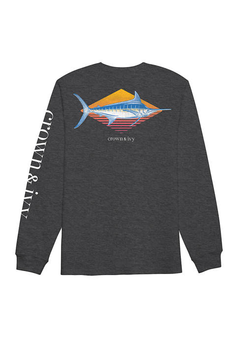 Crown & Ivy™ Long Sleeve Marlin Graphic T-Shirt