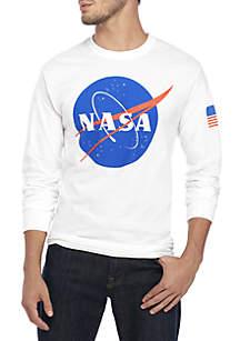 Long Sleeve NASA Blue Logo with Flag Tee