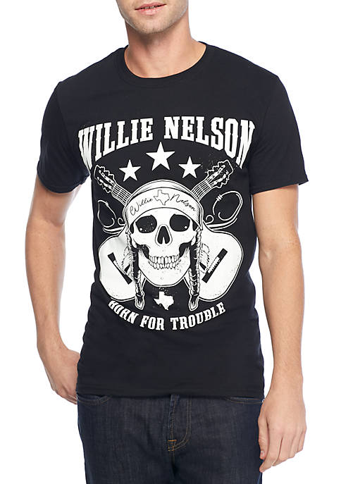 Willie Nelson Skull Born For Trouble Graphic T-Shirt