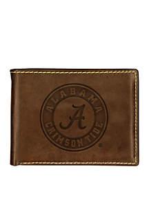Carolina Sewn Bag and Leather Co Alabama Crimson Tide Brown Contrast Stitch Bifold Wallet