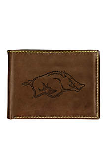 Arkansas Razorbacks Brown Contrast Stitch Bifold Wallet