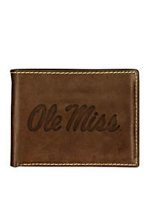 Ole Miss Rebels Brown Contrast Stitch Bifold Wallet
