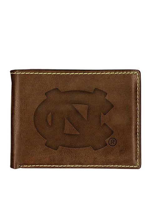 UNC Tarheels Brown Contrast Stitch Bifold Wallet