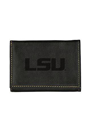 Arkansas Razorbacks NCAA Embossed Logo Dark Brown Leather Trifold Wallet