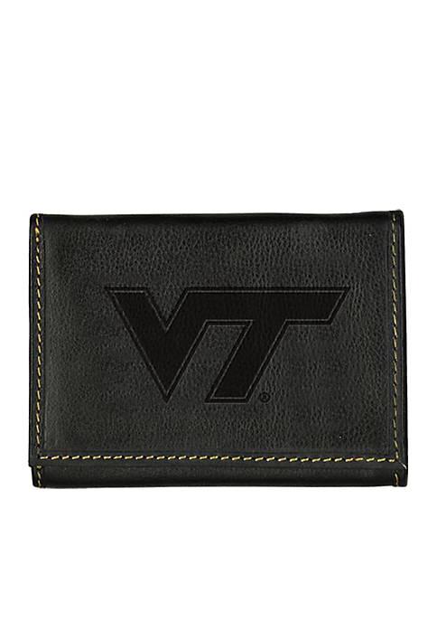 Virginia Tech Hokies Black Contrast Stitch Trifold Wallet