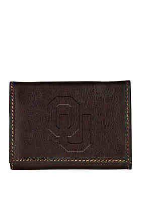 Carolina Sewn Bag and Leather Co Oklahoma Sooners Brown Contrast Stitch  Trifold ... 8862c4383aa41