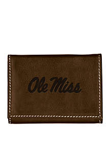 Ole Miss Rebels Brown Contrast Stitch Trifold Wallet