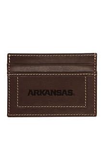 Arkansas Razorbacks Brown Westbridge Clip Cardholder
