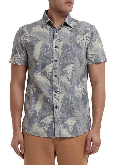 Grayers Short Sleeve Big Leaf Button Down Shirt