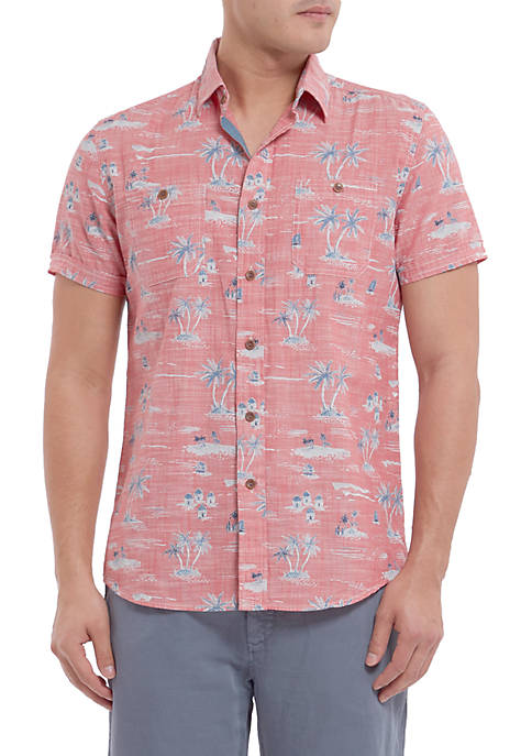 Grayers Short Sleeve Gilligans Printed Chambray Shirt