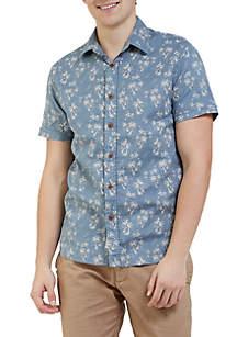 Palm Island Printed Double Cloth Short Sleeve Shirt