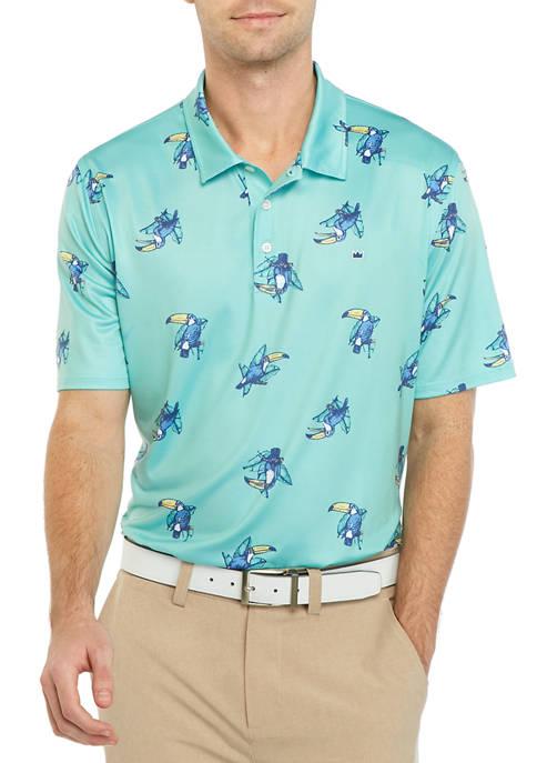 Mens Short Sleeve Printed Performance Polo Shirt
