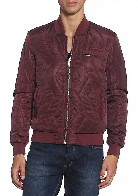 Members Only Zip Zag Quilted Bomber Jacket