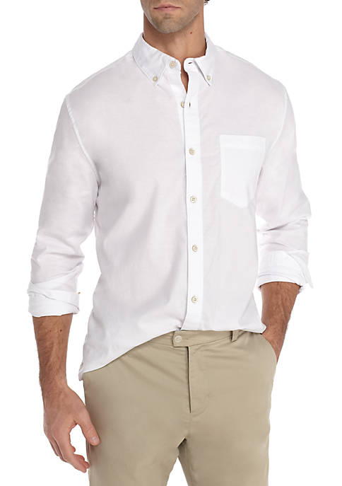 Crown & Ivy™ Motion Flex Solid Oxford Shirt