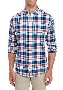 Long sleeve Madras Multicolored Plaid Shirt