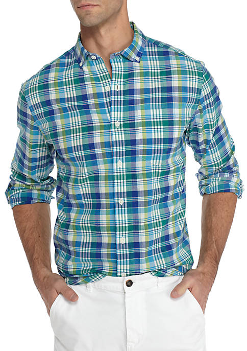 Crown & Ivy™ Long Sleeve Madras Woven Shirt