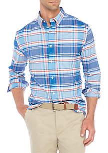 Long Sleeve Oxford Plaid Button-Down Shirt
