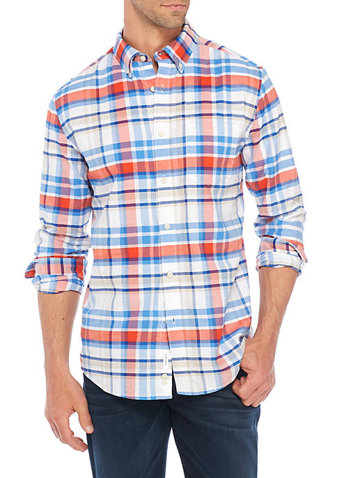 Crown & Ivy™ Long sleeve Plaid Button-Down Oxford