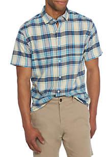 Short Sleeve Madras Woven Button Down Shirt