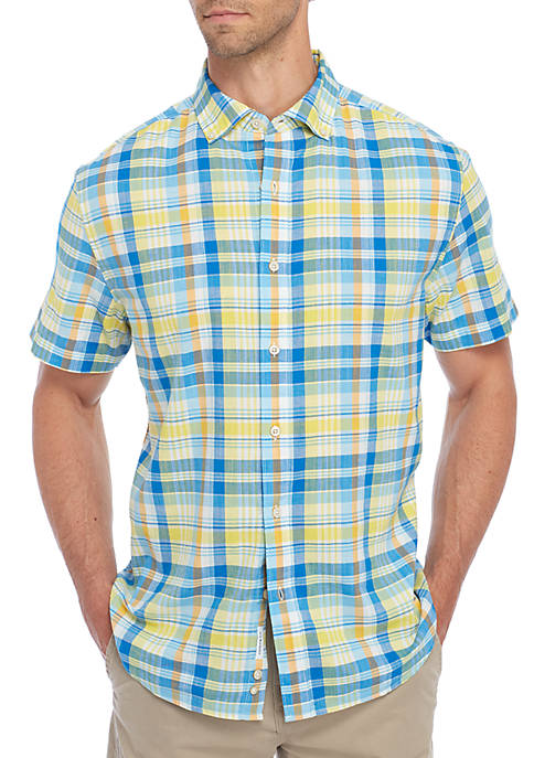 Crown & Ivy™ Short Sleeve Madras Woven Dress