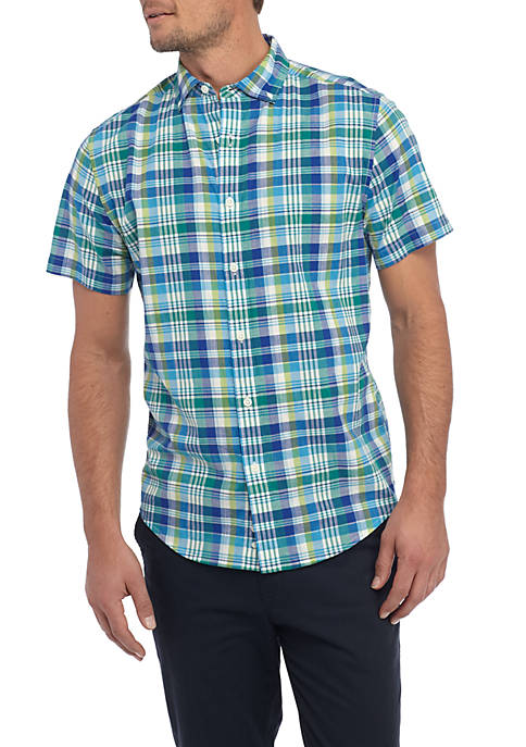 Crown & Ivy™ Short Sleeve Madras Shirt