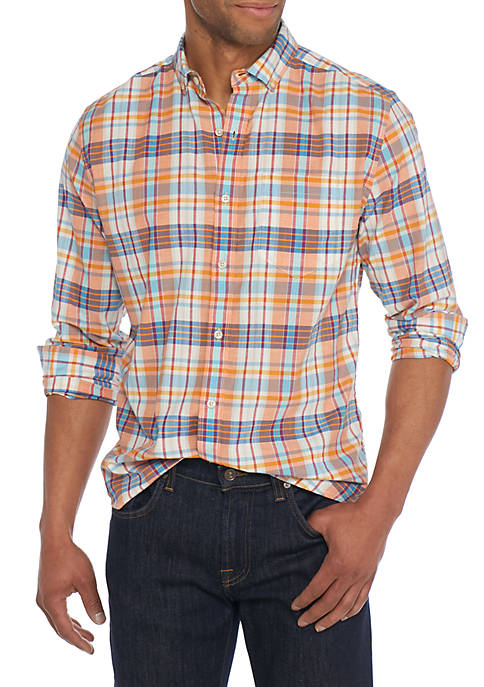 Crown & Ivy™ Long Sleeve Madras Multicolored Plaid