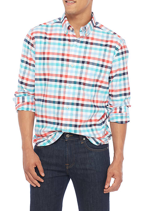 Crown & Ivy™ Long Sleeve Class Oxford Plaid