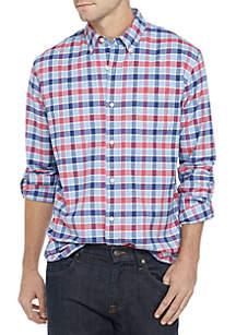 Crown & Ivy™ Long Sleeve Class Oxford Plaid Button Down Shirt