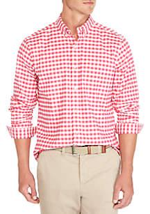 Long Sleeve Class Oxford Plaid Button Down Shirt