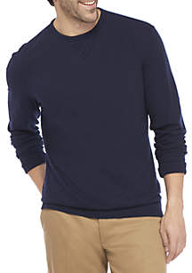 Long Sleeve Slub Crew Neck Top