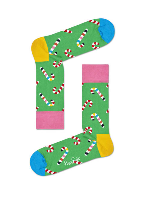 Mens Christmas Candy Cane Crew Socks