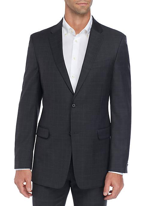 Sharkskin Windowpane Stretch Classic Fit Suit Separate Coat