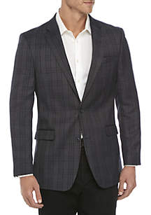 Blue Gray Plaid Sport Coat