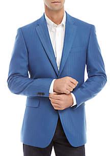 Tommy Hilfiger Blue Herringbone Stretch Blazer