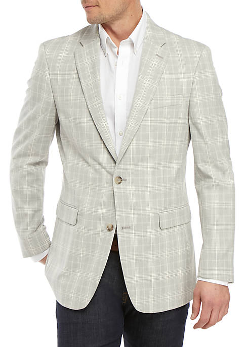 Tan Plaid Stretch Blazer