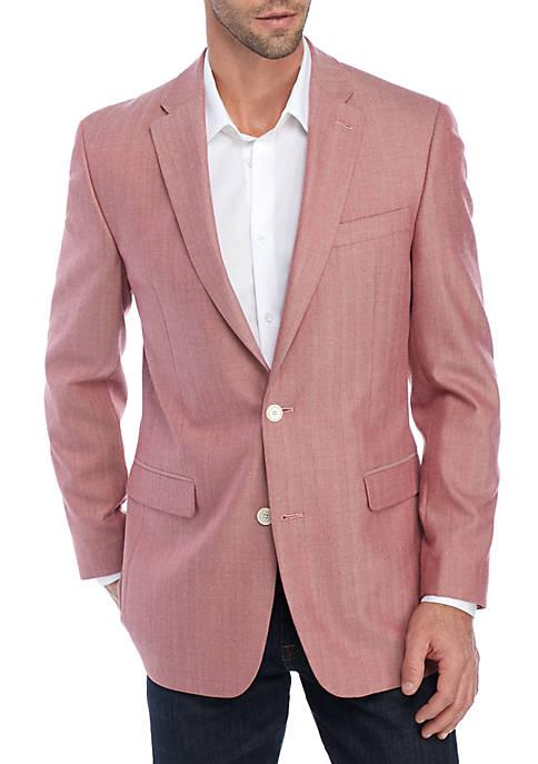 Red Herringbone Stretch Jacket