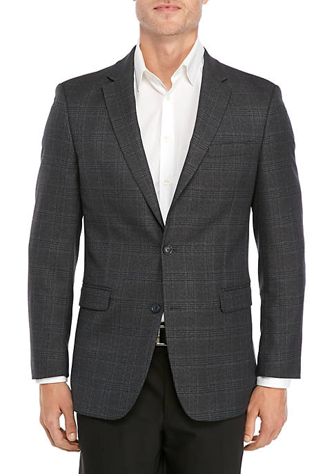 Gray Blue Brown Deco Plaid Sport Coat