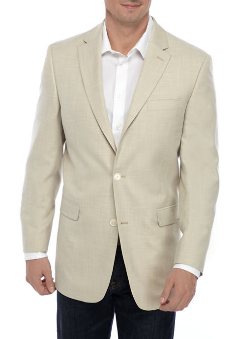 Tan White Diagonal Step Weave Sport Coat