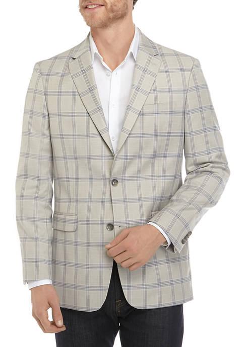 Tan and Blue Plaid Sport Coat