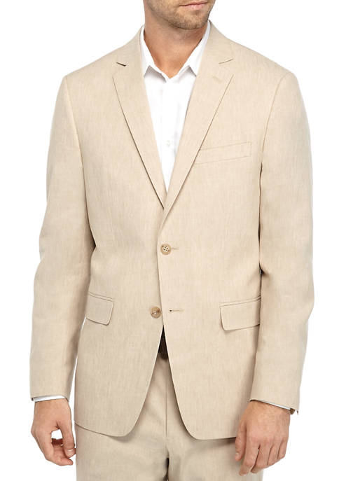 Crown & Ivy™ Tan Linen Solid Suit Jacket